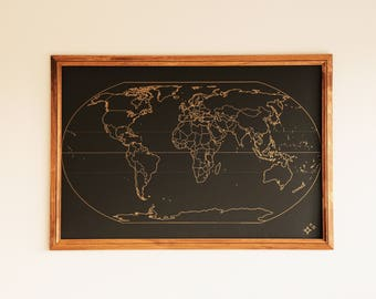 Explore and Adventure World Map Black and Gold FREE SHIPPING