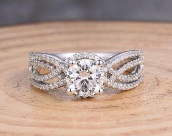 Her Half Eternity, Custom Micropave, Engagement Ring, Non Traditional Ring, Best Engagement Ring, 14k Gold Ring with Round Semi Mount