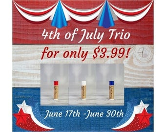 4th Of July - 4th Of July Lip Balm - Lip Balm - 4th of July Gift - Gift For Her - Red White and Blue - Independence Day - Gift For Him