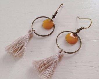 Earrings bronze sequins and tassels