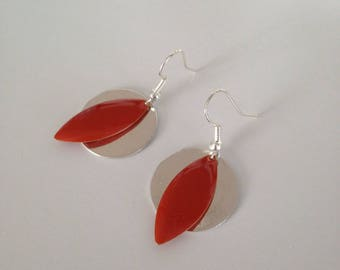 Copper red sequins and Silver earrings