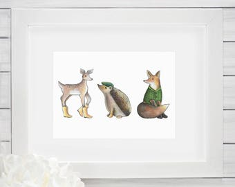 Woodland Nursery Art / Cute Animals Customized Art- Fox, Hedgehog, Deer Friends / Cute Woodland Animal Artwork Baby Kids Bedroom