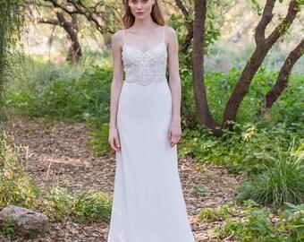Two Piece, Lace Top, Wedding Dress, Simple Lace Dress, Bohemian Wedding Gown, Open Back, Chiffon Dress, Boho Style, Beach Wedding Dress