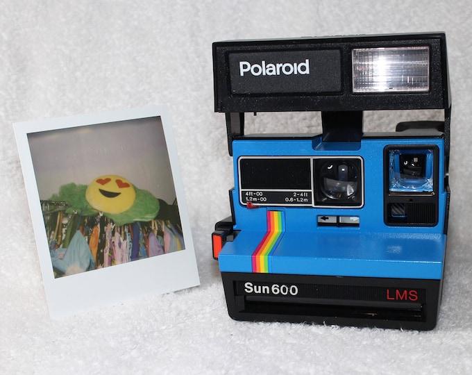 Fun Rainbow Polaroid Sun 600 With CloseUp Lens - Upcycled Bright Blue