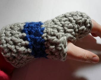 Gray and Blue Women Fingerless Gloves