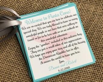Destination Wedding Welcome Bag Tag, Wedding Welcome Bag Tag, Beach Wedding Welcome, Wedding Welcome Letter, Wedding Welcome Note, Wedding