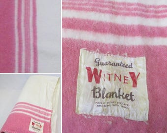 1950s/60s Woollen Blanket in Off White with Pink Stripe!