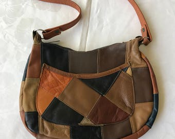 70s Leather Patchwork Handbag