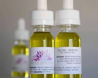 Organic Anti-Aging Facial Serum, Moisturizing Normal to Dry Skin, Paraben-Free Facial Care, Skin Care Serum, Anti-Wrinkle, Lightweight Serum