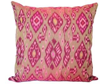 18 x 18 Purple Green Ikat Cushion Cover
