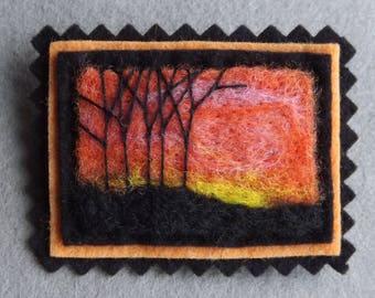 Fall/Winter Sunset Hand Felted Brooch Landscape in Wool Wearable Art