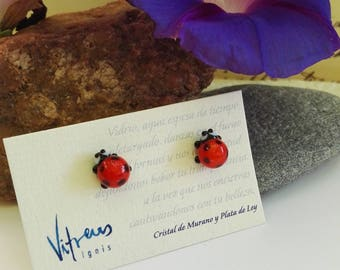 Ladybird Earrings made of Murano Glass and Sterling Silver, red color