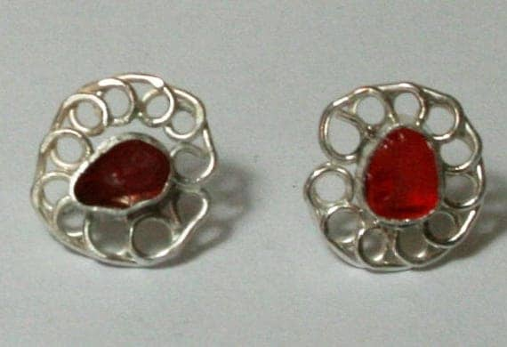 RARE RED SEAGLASS Ear studs - set in Sterling silver