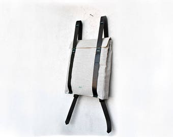 Minimal backpack with leather straps, hipster laptop rucksack, custom backpack 101