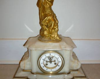 Antique French ''Belle Époque'' bronze figural neo-classical and onyx mantle clock AUBERT circa 1880s