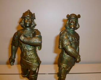Pair antique spelter bronze patina Viking warriors sculpture statues circa 1890s