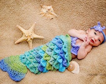 Newborn Mermaid Baby Crochet Photography Prop/Baby Shower Gift/Newborn Infant