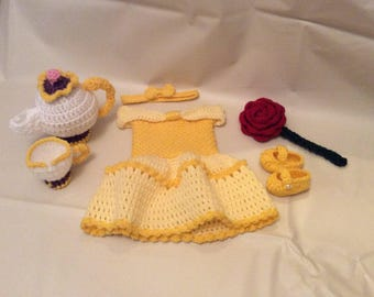 Crochet Belle Newborn Photography Prop Set/Beauty and the Beast/Infant Halloween Costume/Newborn Photo Prop/Baby Shower Gift