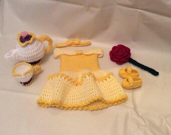 Crochet Belle Dress /Photography Prop Set/Beauty and the Beast/Infant Halloween Costume/Newborn Photo Prop/Baby Shower  Gift/Cake Smash