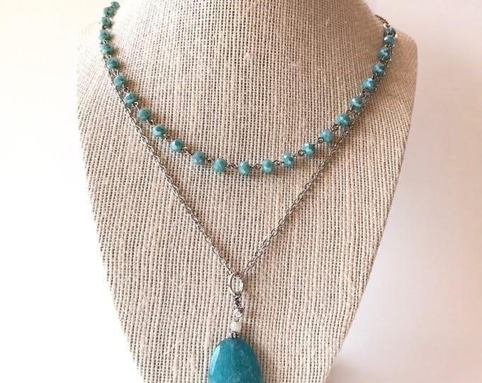 Long blue boho necklace, Long Boho necklace, Jewelry Popular tassel necklace, Blue necklace