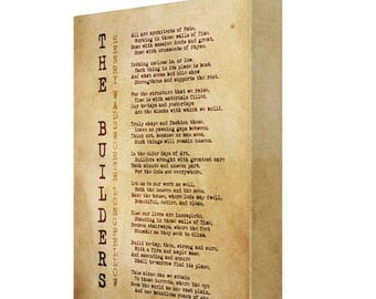 The Builders Henry Wadsworth Longfellow Vintage Style Canvas
