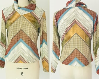 Vintage 70's Graphic Print Cowl Neck Jersey Pullover l S