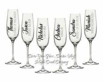 2 Wedding Party Decals. Choose from 21 colors. Perfect for Wine Glasses, Champagne Flutes, Yeti Cups, and Flasks.