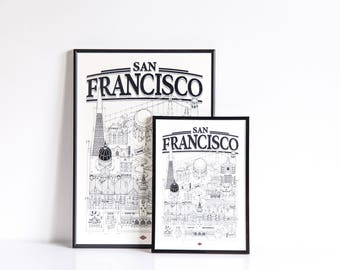 San Francisco - series illustration * Travel With Me *. Black and white. 21 x 29.7 cm