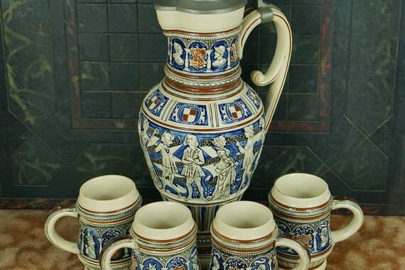 Vintage German Embossed Stoneware Pitcher Pewter Lid 4 Mugs