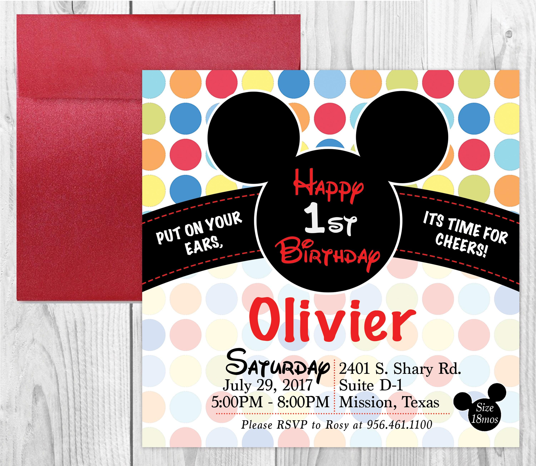MICKEY MOUSE Invitation & Envelope - Birthday Invitation - Minnie ...