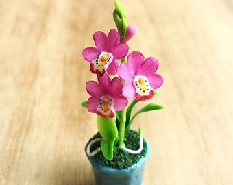 MidYear Sale15% Miniature Flower,Miniature Flower Pot,Miniature Orchid,Dollhouse Flower,Miniature Garden,Dollhouse Orchid,pink Orchid