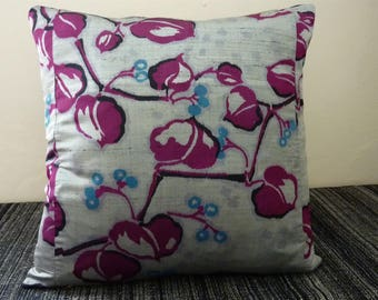 Silver Grey Lilac Purple Black Blue Vine Luxe Vintage Japanese Meisen Silk Kimono Fabric Pillow Cushion Cover