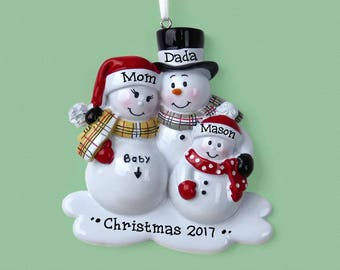 3 Expecting Family Personalized Ornament - Expecting a Baby - Hand Personalized Christmas Ornament