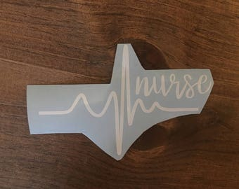 Nurse heartbeat decal for car or laptop, RN window decal, nurse heartbeat window decal