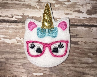 Set of 4 Geeky Macaroon Unicorn Felties Macaron Macarons Head Horn Horse Magic Magical Fantasy Feltie Felt Embellishment Bow! Birthday Party