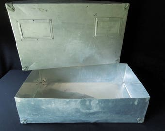 Vintage Storage Metal Storage Box - Industrial Decor - Container Display - Aluminum Crate Luggage