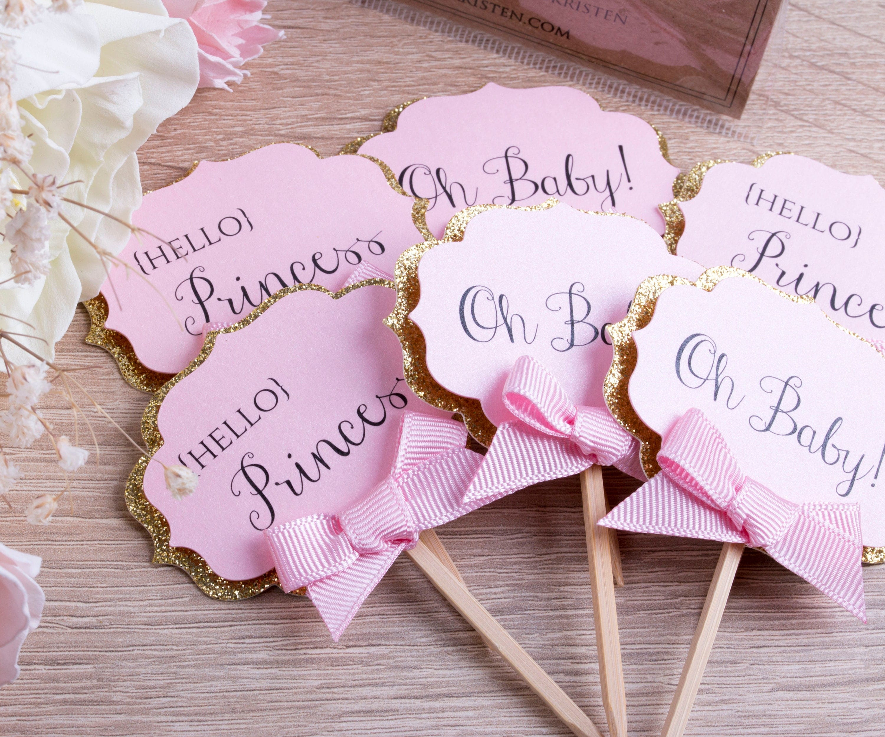 Pink and Gold Baby Shower Cupcake Toppers Baby Girl Shower