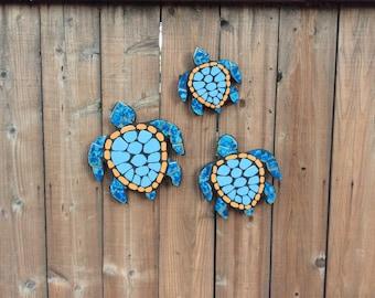 Sea turtles, turtles, garden decor, garden statues, tile mosaic, mosaic, fence ornaments, backyard art