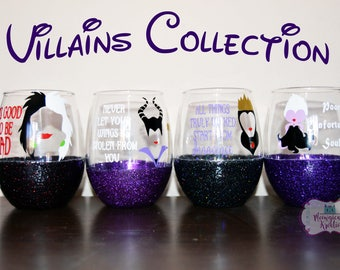 Disney Villain Wine Glass Collection, Disney Evil Queen Wine Glass, Ursula Wine Glass, Maleficent Wine Glass, Cruella de Vil Wine Glass
