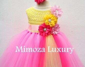 SALE Pink Lemonade Birthday Dress, Infant Baby Girl Dress, Pink Yellow Flower girl dress, infant tutu dress, newborn princess dress, infant