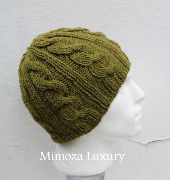 Khaki Green Men's Beanie hat, Hand Knitted Hat in khaki green beanie hat, knitted men's, women's beanie hat, winter beanie, green ski hat