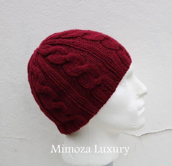 Burgundy Men's Beanie hat, Hand Knitted Hat in wine red beanie hat cap, knitted men's, women's beanie hat, winter beanie, bordo ski hat