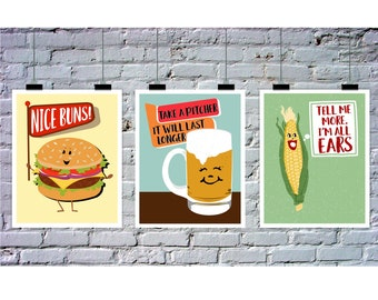 Barbecue Pary Decor, Instant Download, 3 Piece Wall Art, Punny Art, BBQ Printables, Nice Buns, Beer, Corn Wall Art, Signs, Decorations