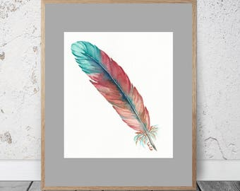 Feather Watercolor Feather Wall Art Watercolor Painting Teal Feather Watercolor Red Watercolor Painting Pink Feather Watercolor Painting