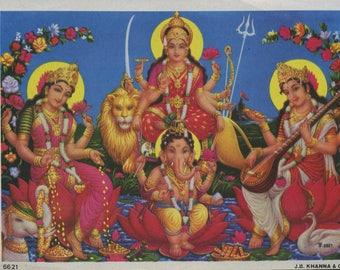 Saraswati, Lakshmi & Ganesh ... Small Vintage Indian devotional print