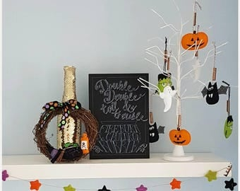 Double double toil & trouble Halloween foamboard decoration
