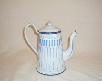French small enameled coffee or Tea  pot / jug / pitcher. Country blue and white enamelware French Kitchen enamel