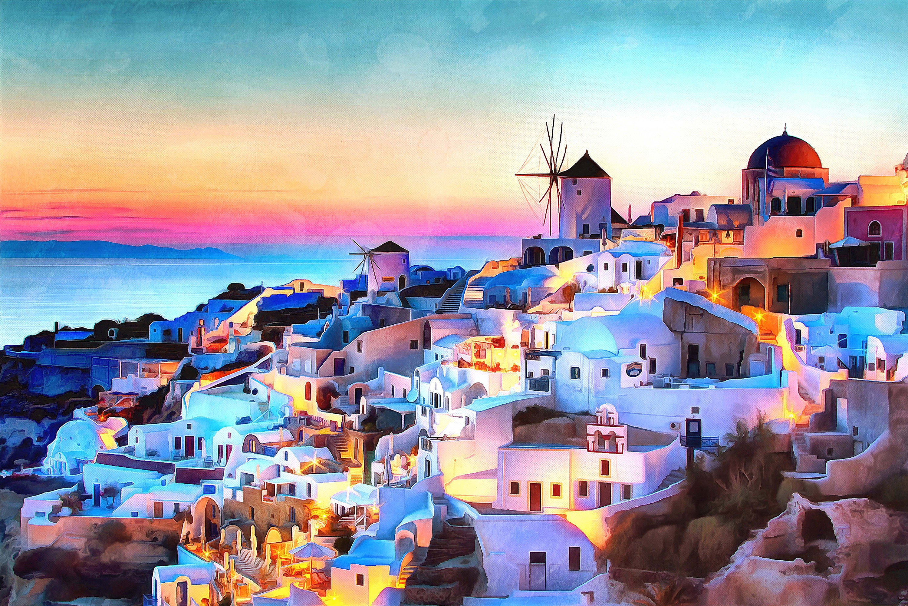 greece watercolor painting wall art home decor print sunset