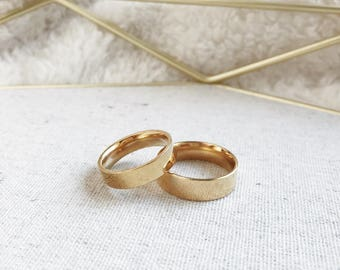 6mm/5mm Gold Plated Stainless Steel Rings, Couples Ring Set, Couples Names Rings, Matching Couple Ring, His and Her Ring Set, Fiance Ring