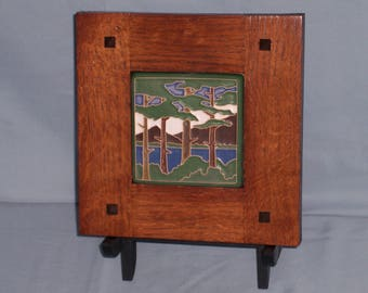 Framed Arts and Crafts Tile-Mission Style Frame-Lake Tahoe Pines-Home Sweet Home